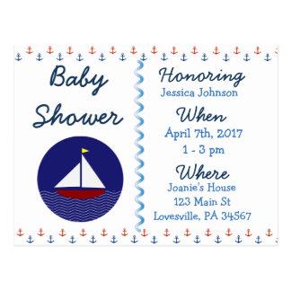 Baby Boy Sailboat Blue Baby Shower Invitation Postcard