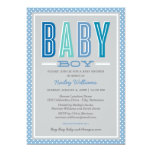 Baby Boy Shower | Chic Type in Blue and Grey 13 Cm X 18 Cm Invitation Card