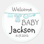 Baby Boy Shower Clothes Line Round Sticker