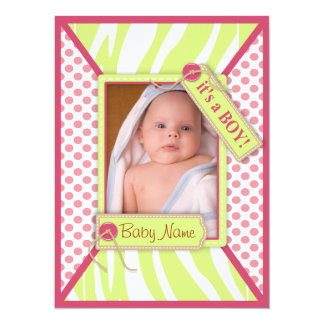 Baby Boy Shower Dots Invitation Card