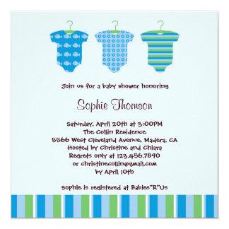 """Baby Boy Shower Invitation 5.25"""" Square Invitation Card"""