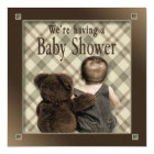 BABY BOY SHOWER INVITATION - BABY AND TEDDY BEAR