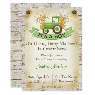 Baby Boy Shower Invitation - Green Tractor