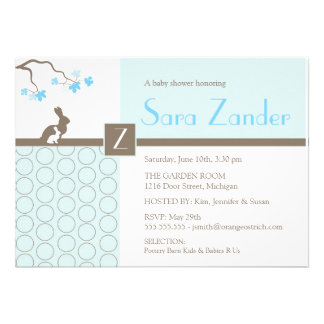 Baby Boy Shower Invitation - Mother and Baby Bunny