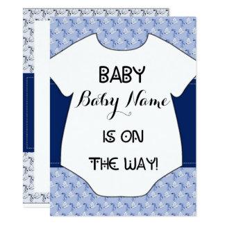 Baby Boy Shower Invitation Stork Bodysuit Blue
