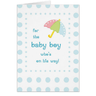 Baby Boy Shower, Umbrella with Blue Dots Greeting Cards
