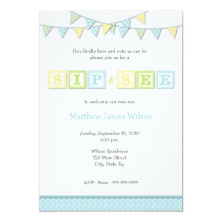 Baby Boy Sip and See Invitation