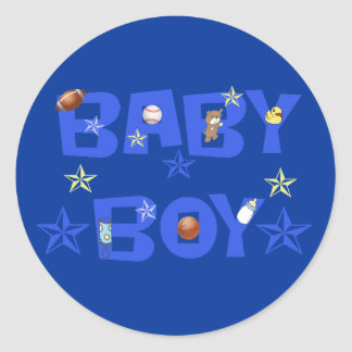 Baby Boy sports Classic Round Sticker