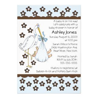 Baby Boy Stork Boy Baby Shower Invitations