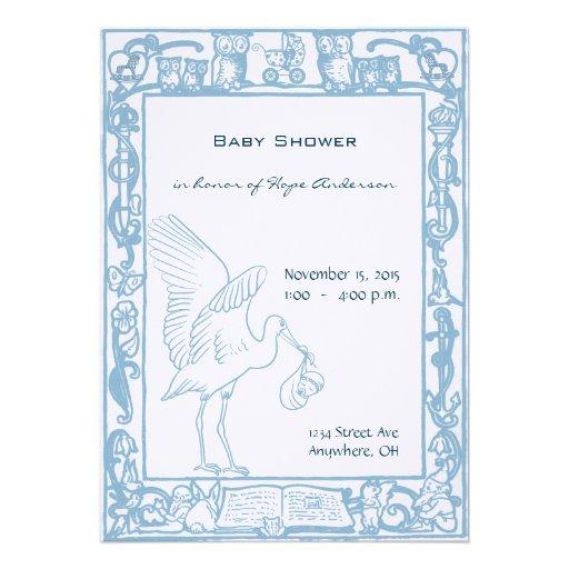 Baby Boy Stork & Owl Border Shower Announcement