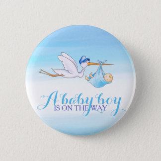 Baby boy stork watercolor button badge