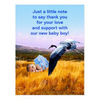Baby boy thank you postcard