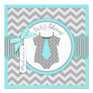 Baby Boy Tie Chevron Print Baby Shower 13 Cm X 13 Cm Square Invitation Card