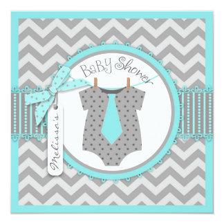 Baby Boy Tie Chevron Print Baby Shower 13 Cm X 13 Cm Square Invitation Card