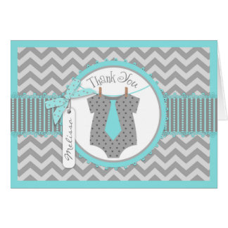 Baby Boy Tie Chevron Print Thank You Card