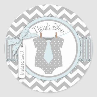 Baby Boy Tie Chevron Print Thank You Label Classic Round Sticker