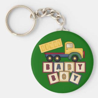 Baby Boy Toy Truck Basic Round Button Key Ring