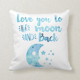 Baby Boy Watercolor Love You to the Moon And Back Throw Pillow