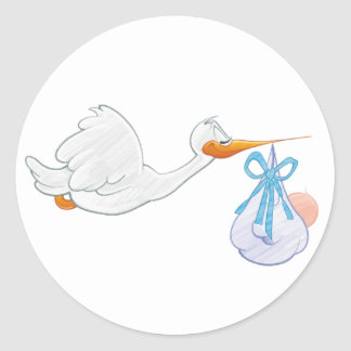Baby Boy with Stork Classic Round Sticker