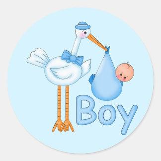 Baby Boy with Stork Round Sticker