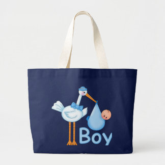 Baby Boy with Stork Canvas Bag