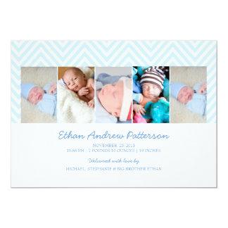 Baby Boy Zigzag Blue 5 Photo Birth Announcement