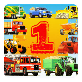 Baby Boys 1st Birthday Construction Truck Party Card