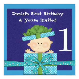 "Baby Boys 1st  Birthday Party TEMPLATE Invitation 5.25"" Square Invitation Card"