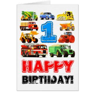 Baby Boy's Big Trucks 1st Birthday Greeting Card
