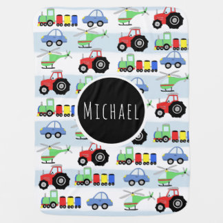 Baby Boy's Blue Car Transport Pattern & Name Baby Blanket