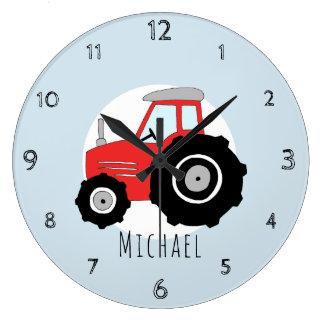 Baby Boys Doodle Red Farm Tractor Car Nursery Large Clock