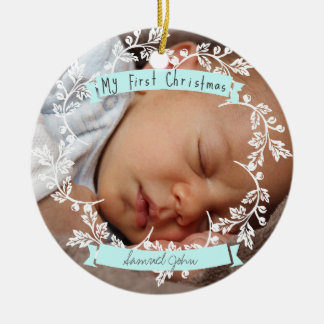 Baby Boy's First Photo Christmas Ornament