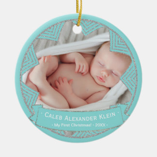 Baby Boys Powder Blue Personalized Christmas Photo Ceramic Ornament