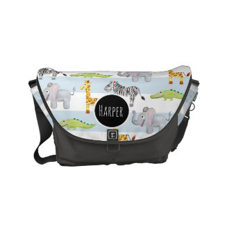 Baby Boy's Striped Safari Animal with Name Diaper Courier Bag