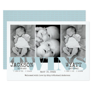 Baby Boys Twins Beautiful Blue Birth Announcement
