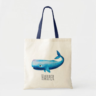 Baby Boy's Watercolor Blue Sea Whale and Name Tote Bag