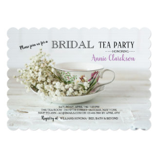 Baby Breath & Tea Cup Invitation