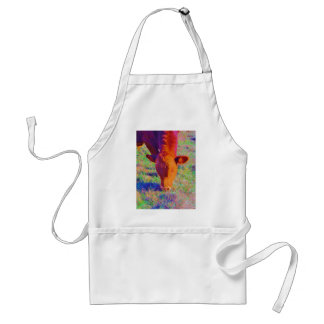Baby Brown Cow face. RAINBOW GRASS Adult Apron