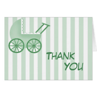 Baby Buggy Striped Thank You Card