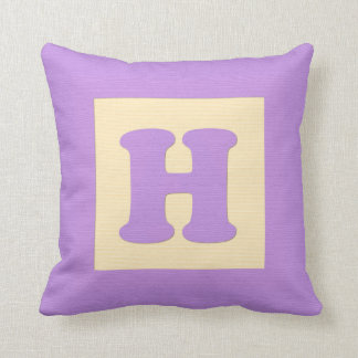 Baby building block throw pIllow letter H (purple)