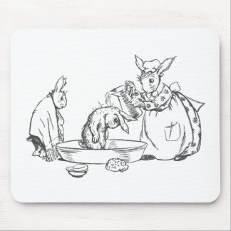 Baby Bunnies Bathed by Mother Mouse Pad