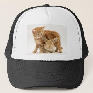 Baby Bunny and Orange Kitten Meet Trucker Hat