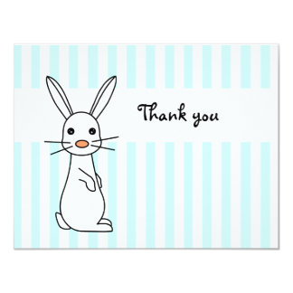 "Baby Bunny Blue Flat Thank You Note Cards 4.25"" X 5.5"" Invitation Card"