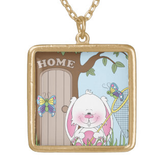 Baby Bunny Cartoon Gold Plated Necklace