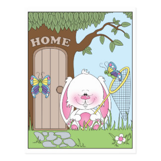 Baby Bunny Cartoon Illustration Postcard