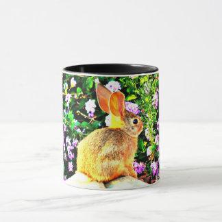 Baby Bunny in Purple Flowers Two Tone Coffee Mug