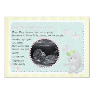 Baby Bunny Pink Photo Baby Shower Invitation