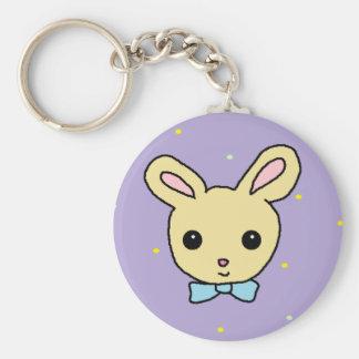 Baby Bunny Purple Basic Round Button Key Ring