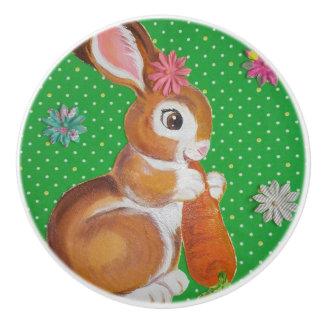 Baby Bunny Rabbit Green Drawer Pull Door Knob