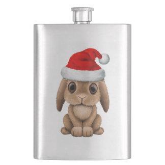 Baby Bunny Wearing a Santa Hat Hip Flask